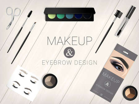 Set of cosmetic accessories for eyebrow and make-up design. Cosmetic set on a realistic wooden table. Palette, eye shadow, eyebrow shadow, brushes, eyebrow pliers, brochure, face chat for eyebrows. Realistic detail design. Vector illustration EPS10.