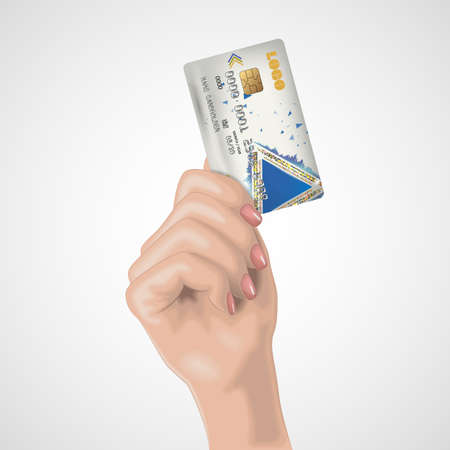Realistic female hand holds the credit card. Vector illustration. Image for advertizing in the financial sphere and the bank sphere. A beautiful, well-groomed female hand with manicure.