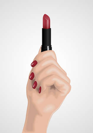 The realistic elegant female hand holds the lipstick. Vector illustration. The image for advertizing of cosmetic services, a make-up, beauty shops. Female wrist. Beautiful well-groomed hand. Female fingers with manicure. Illusztráció