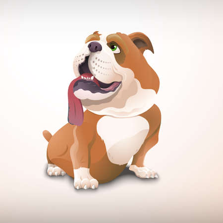 Reizende sitzende Bulldogge in der Karikaturart. Hund im Vektorformat. Zur Verwendung im Jahr des Hundes. Der Charakter des Hundes mit offenem Mund und hängender Zunge.