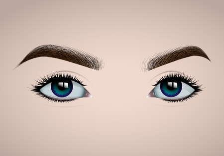 Realistic female eyes and eyebrows, long colored eyelashes. Makeup and eyebrow design, eyelash extension. Basis for make-up. Vector illustration.