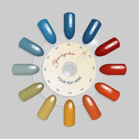 Set of false nails for manicure. Varnish color palette for nail extension. Artificial nails on a transparent basis. Illustration