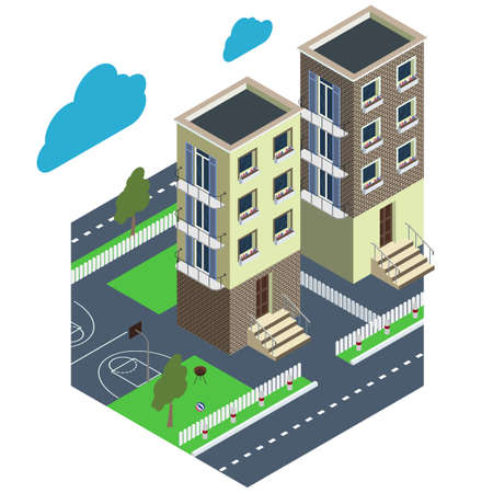 City courtyard. House with a green lawn and a white fence. Isometric projection.