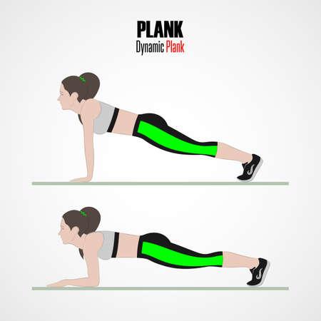 Sportübungen. Übungen mit freiem Gewicht. Dynamische Planke. Illustration eines aktiven Lebensstils. Vektor. Standard-Bild - 90426616