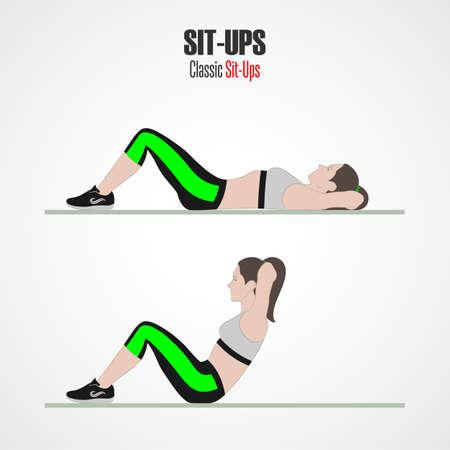 Sit-ups. Sportübungen. Sit-up-Phase. Übungen mit freiem Gewicht. Illustration eines aktiven Lebensstils. Vektor-Skizze. Standard-Bild - 90426619