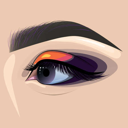 Beautiful painted female eye and eyebrow for fashion design. Visage, makeup, eyebrow designer. Design element for banners, business cards, brochures.