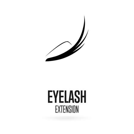Black eyelash extension logo on white background. Vector illustration