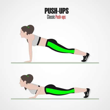 Sportübungen. Übungen mit freiem Gewicht. Liegestütze. Illustration eines aktiven Lebensstils. Vektor. Standard-Bild - 90433823