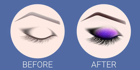 Design of eyebrows and make-up. The closed female eye before and after a make-up. A curved female eyebrow and long eyelashes. Eyelash extension, eye shine and eyebrow tattoo. 일러스트