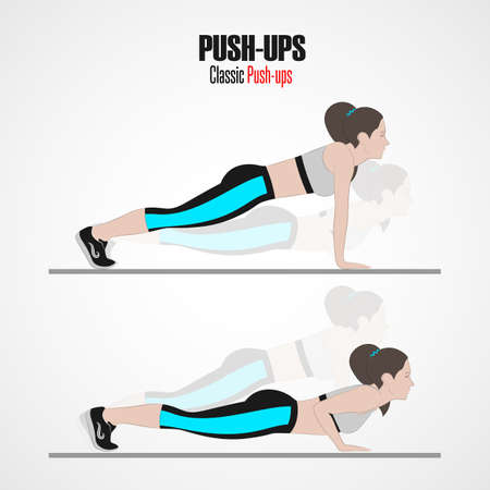 Pushups. Sport exercises. Stage of push-ups. Exercises with free weight. Illustration of an active lifestyle. Vector sketch.