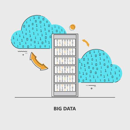 Big data. Statistics, information processing, cloud technologies. A set of elements for design. Vector illustration.