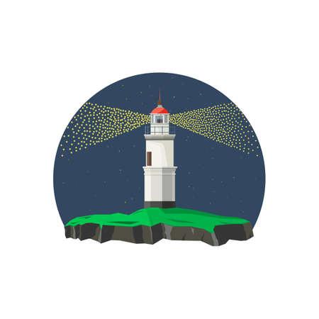White lighthouse in night time. Spotlight light. Vector illustration Illustration