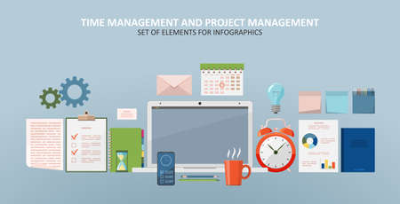 Project management, time management, concept planning, organization, working time. A set of elements for infographic. Clock, hourglass, to-do list, office supplies, laptop Flat vector illustration 矢量图像