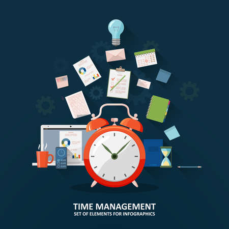 Time management, concept planning, organization, working time. A set of elements for infographic. Clock, hourglass, to-do list, office supplies, laptop and smartphone. Flat vector illustration