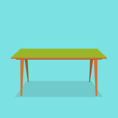 Orange table. Office furniture. Isolated on bright background. Vector illustration