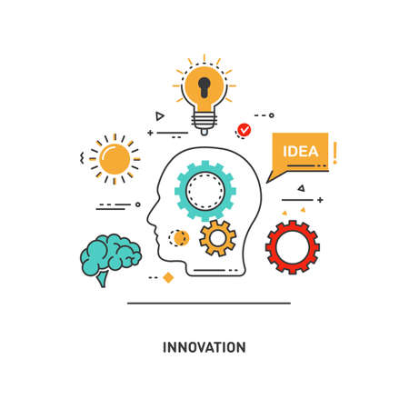 Vector conceptual flat line illustrations. Innovation, thoughts and ideas. Silhouette of a head, bulb gear, cloud, brain, speech balloon