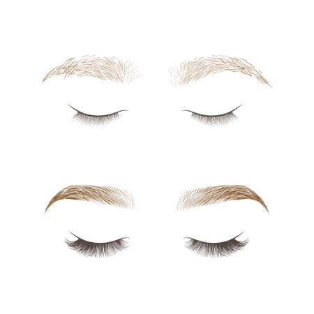 Eyebrows desing and eyelashes extension. Set of well-groomed and shaggy eyebrows. Before and after the care. Closed eyes with long eyelashes. Vector illustration