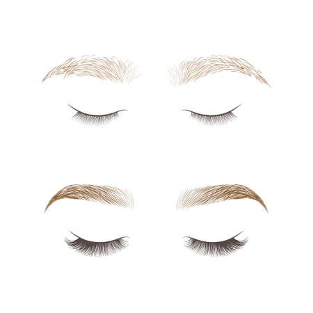 Diseño de cejas y extensión de pestañas. Conjunto de cejas bien cuidadas y shaggy. Antes y después del cuidado. Ojos cerrados con pestañas largas. Ilustración vectorial