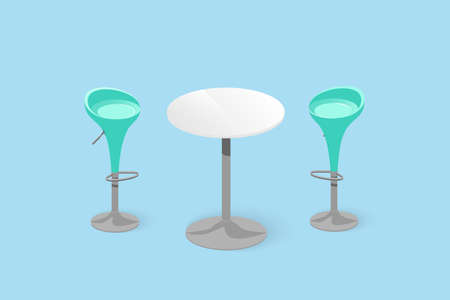 Set of bar stools and table. Bar chair. High chair. Bar interior design. Vector illustration