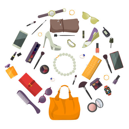 Set of fashion accessories. Women items and accessories. Vector illustration.