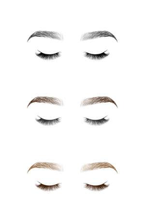 Set van gesloten ogen met lange wimpers en wenkbrauwen. Vector illustratie.