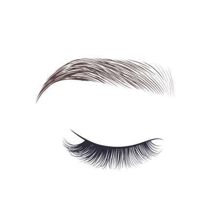 Makeup eyebrow. Closed eye with long eyelashes. Vector illustration