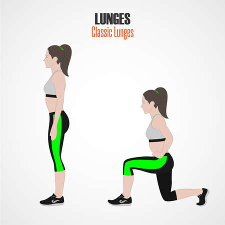 Sport exercises. Exercises with free weight. Classic Lunges. Illustration of an active lifestyle. Exercise for beautiful thighs and buttocks. Vector. Stock Photo