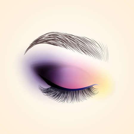 Maquillaje de ojo. Ojo cerrado con pestañas largas. Ilustración vectorial Foto de archivo - 90537432