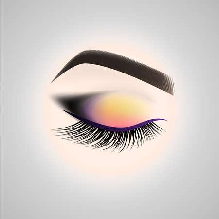 Eye makeup. Closed eye with long eyelashes. Vector illustration. Vettoriali