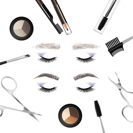 A set of tools and accessories for the care of the eyebrows. Brushes, combs, eyebrow pencil, brow powder, brow gel, tweezers. Example of eyebrows - before and after care. Vector illustration Çizim