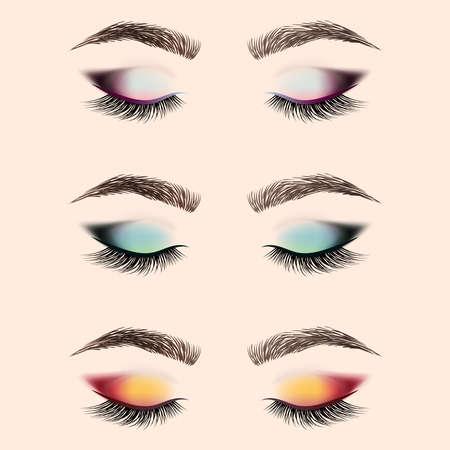 Ensemble de maquillage pour les yeux. Oeil fermé avec de longs cils et sourcils. Illustration vectorielle