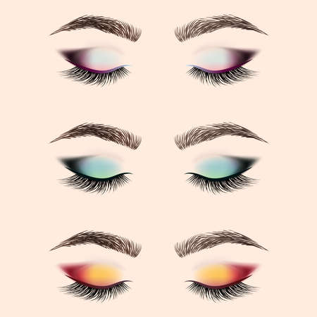 Set of eye makeup. Closed eye with long eyelashes and eyebrows. Vector illustration.