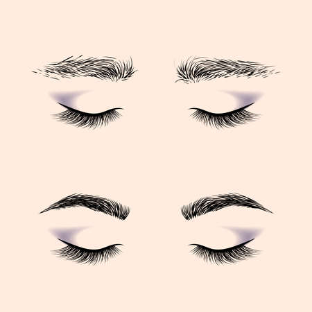 Makeup eyebrows. Set of well-groomed and shaggy eyebrows. Before and after the care. Closed eyes with long eyelashes. Vector illustration Illusztráció