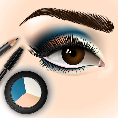 Beautiful eye with makeup accessories. Brush, eyeliner and eye shadow. Vector illustration
