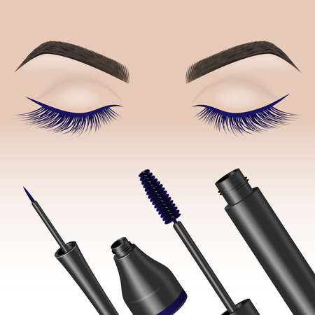 Eye makeup. Closed eyes with color eyelashes . Eyeliner and mascara. Vector illustration