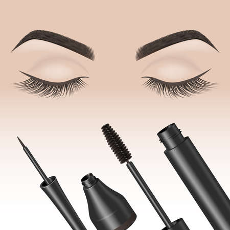 Eye makeup. Closed eyes with color eyelashes . Eyeliner and mascara. Vector illustration