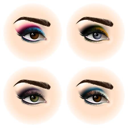 ensemble de femme oeil avec le maquillage. beaux yeux . vector illustration