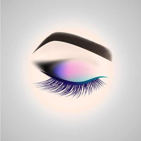Eye makeup. Closed eye with long eyelashes. Vector illustration. Illustration