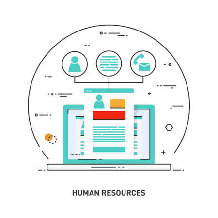 Concept line icon for human resources, recruitment, HR management, career. Illustration for web design and infographics design. Laptop with the employee's case and his personal data. 일러스트