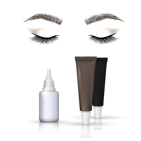 Eyebrows and eyelashes tint. Closed eyes, vector illustration.
