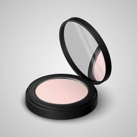 Realistische kompakte Pulver im schwarzen Behälter mit Spiegel Vektorgrafik