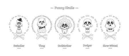 Day of the Dead. Set of skulls in black and white. Vector illustration Stock Photo