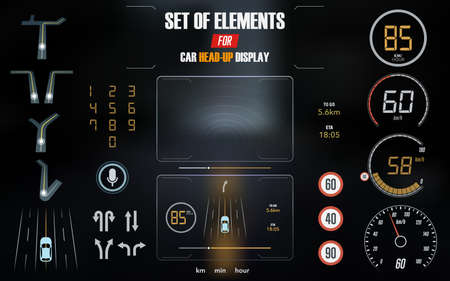 Set of modern head up display and elements for it. HUD interface vector Illustration. Illustration