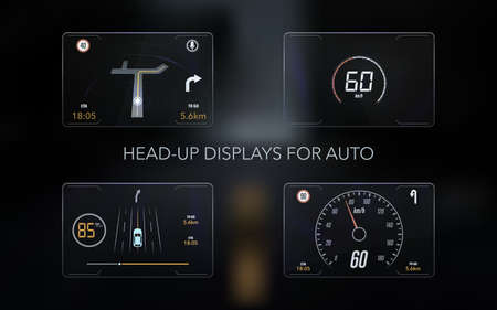 Modern head up display and elements for it. HUD interface. Vector Illustration. Çizim