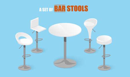Set of bar stools and table. Bar chair. High chair. Bar interior design. Vector illustration. Illustration