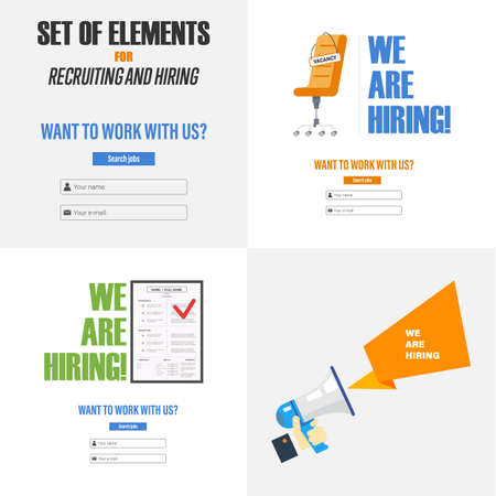 Set of elements for recruiting and hiring. The concept for the design of sites, infographics and other. Vector illustration Ilustração