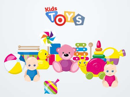 A set of colorful kids toys illustration. Illustration