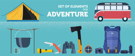 A set of accessories for active adventure in nature. Vector illustration