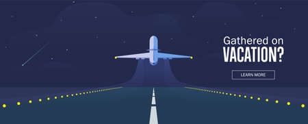 Airplane in the sky, runway and take-off plane. Banner or flyer for travel and vacation design. Starry night sky. Vector illustration. Illustration