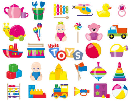 Kids toys. A set of children's toys for the youngest. Vector illustration.